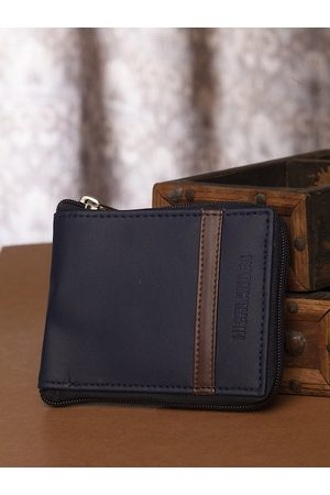 Highlander Men Navy Blue Solid Zip Around Wallet
