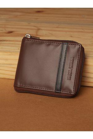 Highlander Men Coffee Brown Solid Zip Around Wallet