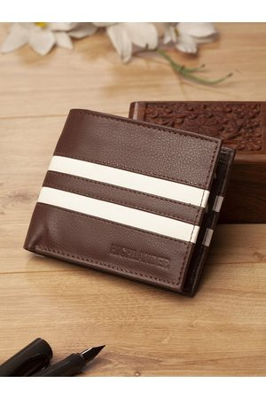 Highlander Men Brown & White Striped Two Fold Wallet