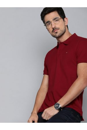 HARVARD Men Maroon Solid Polo Collar T-shirt