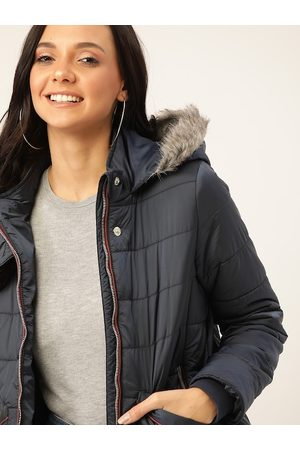 DressBerry Women Navy Blue Solid Hooded Parka Jacket