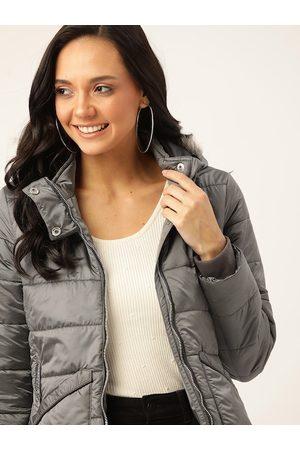 DressBerry Women Charcoal Grey Solid Hooded Parka Jacket