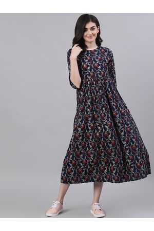 Nayo Women Navy Blue & Maroon Floral Print A-Line Dress