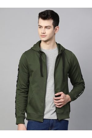 Park Avenue Men Olive Green Solid Hooded Sweatshirt with Side Taping