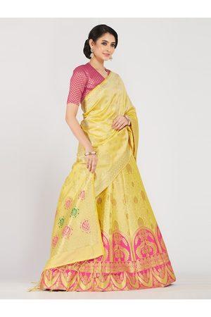 Mimosa Women Pink & Yellow Zari Woven Design Semi-Stitched Lehenga & Unstitched Choli with Dupatta