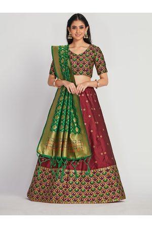 Mimosa Women Maroon & Green Zari Woven Design Semi-Stitched Lehenga & Unstitched Choli with Dupatta