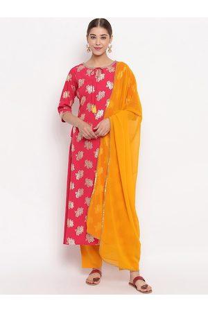 Janasya Women Pink & Yellow Printed Kurta with Trousers & Dupatta