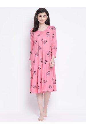 Clovia Women Pink & Black Floral Printed Maternity Or Feeding Nightdress