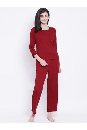 Clovia Women Maroon Solid Night Suit