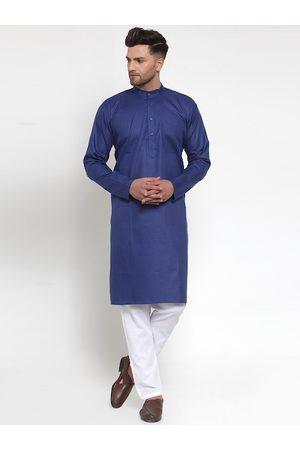 Jompers Men Blue & White Solid Kurta with Pyjamas