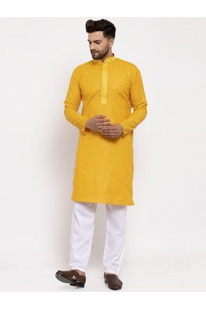 Jompers Men Yellow & Off-White Solid Kurta with Pyjamas