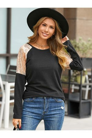 YOINS Sequins Patchwork Round Neck Long Sleeves Tee