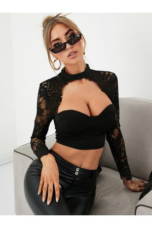 YOINS Sexy Lace Insert Cropped Body-con Top