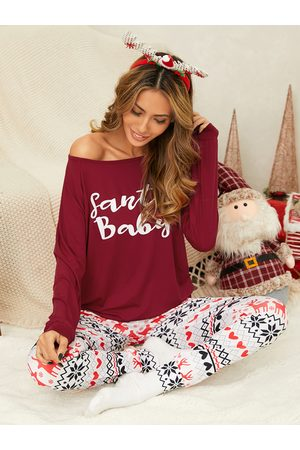 YOINS Letter Christmas Pattern Round Neck Long Sleeves Two Piece Outfit