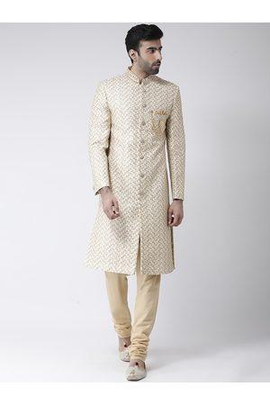 SG RAJASAHAB Men Cream-Coloured Sherwani Set