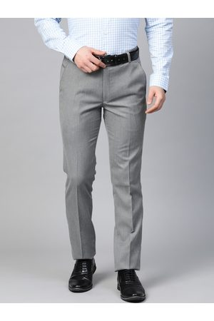 MANQ Men Grey Self Design Slim Fit Formal Trousers