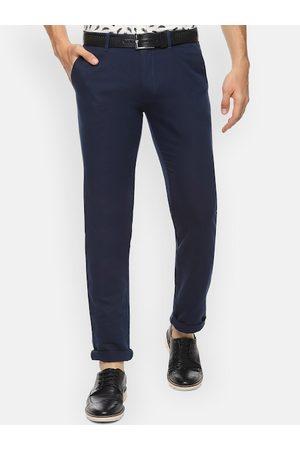 V Dot Men Navy Blue Slim Fit Solid Regular Trousers