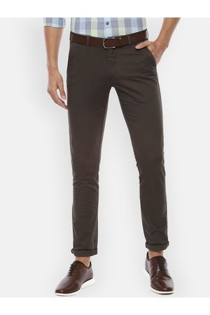Van Heusen Men Brown Slim Fit Solid Regular Trousers