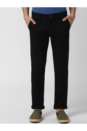 Peter England Men Black Slim Fit Solid Regular Trousers