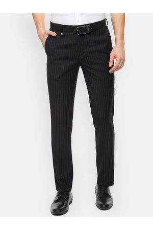 V Dot Men Black Skinny Fit Striped Formal Trousers