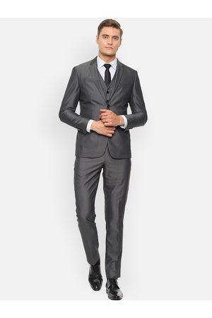 Louis Philippe Men Grey Self-Design Slim-Fit Single-Breasted Formal Suit