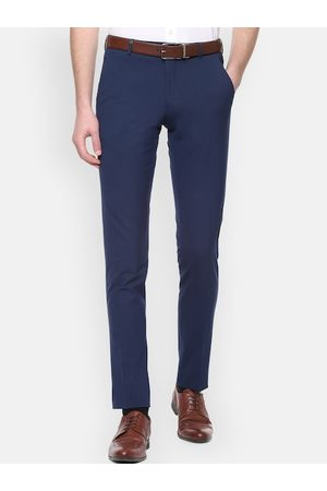 Van Heusen Men Blue Slim Fit Solid Formal Trousers
