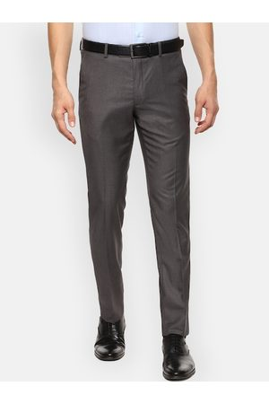 Van Heusen Men Grey Slim Fit Solid Formal Trousers