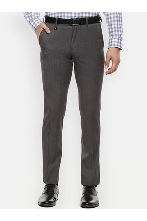 V Dot Men Grey Skinny Fit Solid Formal Trousers