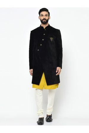 KISAH Men Black & White Solid Sherwani Set