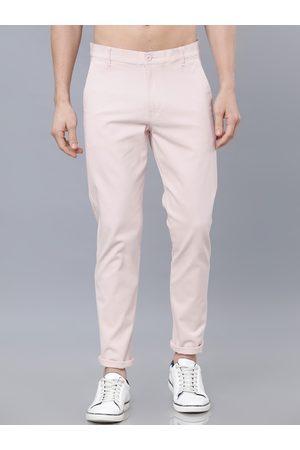 Highlander Men Pink Slim Fit Solid Regular Trousers