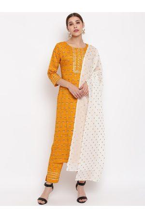 Janasya Women Mustard Yellow & Black Printed Kurta with Trousers & Dupatta