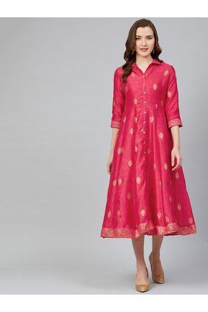 Rangriti Women Pink & Golden Printed Shirt Dress