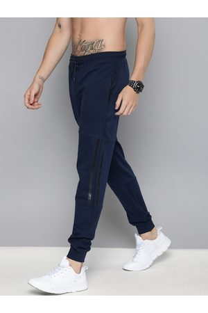 HARVARD Men Navy Blue Straight Fit Solid Joggers with Striped Detail