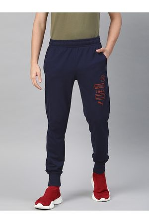 PUMA Men Navy Blue Graphic Sweatpants BT Solid Joggers with Printed Detail