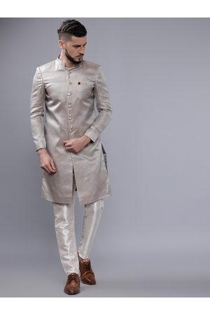 The Indian Garage Co Men Grey & White Sherwani Set