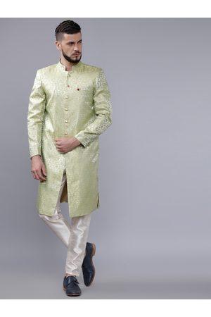 The Indian Garage Co Men Green & White Sherwani Set