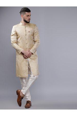 The Indian Garage Co Men Gold-Coloured & White Sherwani Set