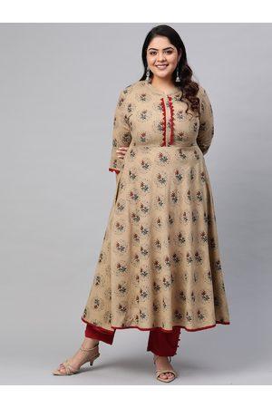 Yash Gallery Plus Size Women Beige & Green Ethnic Motifs Print A-Line Kurta