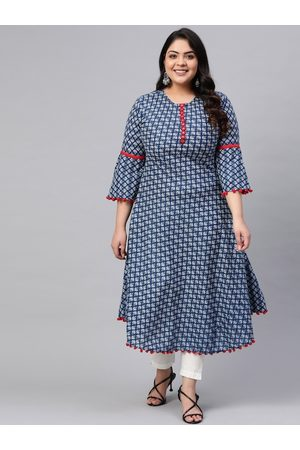 Yash Gallery Plus Size Women Blue & White Printed A-Line Kurta