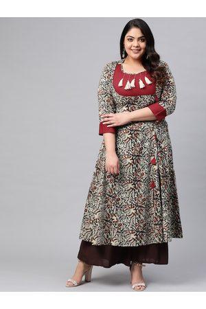 Yash Gallery Women Off-White & Maroon Printed Anarkali Kurta
