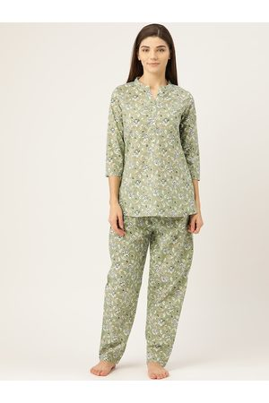 Prakrti Women Green & White All-Over Floral Printed Cotton Night suit set
