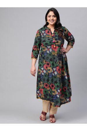 YASH GALLERY Plus Size Women Navy Blue & Green Floral Print A-Line Kurta