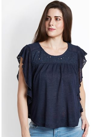 Pantaloons Women Navy Blue Embellished A-Line Top