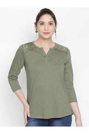 Pantaloons Women Olive Green Solid A-Line Top