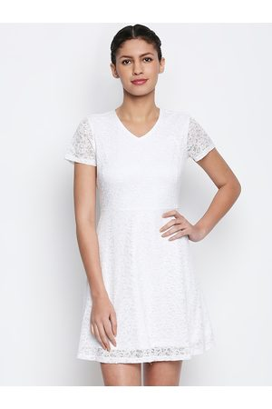 Pantaloons Women White Lace Fit and Flare Dress