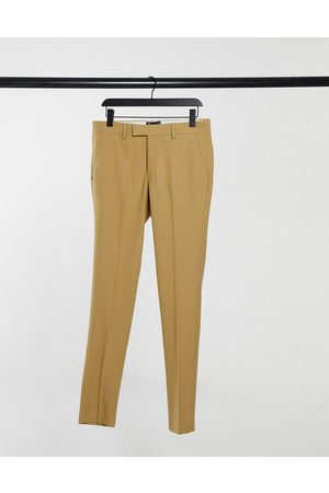 ASOS Wedding super skinny suit trousers in camel micro texture