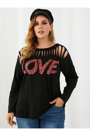 YOINS Plus Size Crew Neck Letter Cut Out Long Sleeves Tee