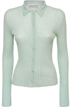 Emilio Pucci Cotton Knit Rib Polo Cardigan