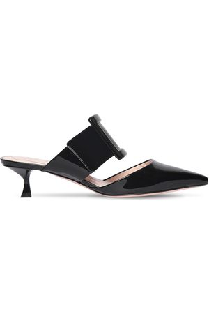 Roger Vivier 45mm Covered Buckle Patent Leather Mules