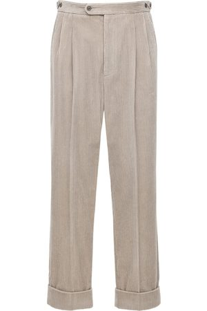 Gucci Leather Patch Regular Corduroy Pants
